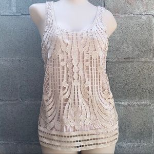 Express Beige Front Knit Sleeveless Top Size XS